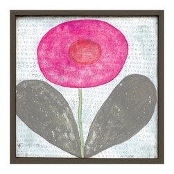 Kathy Kuo Home - Happy Flower 'XOXO' Reclaimed Wood Art Print Wall Art - Small - Add bright color, childlike whimsy and sentiment to your wall with this art piece available in two sizes. The primitive flower takes center stage on a backdrop that's covered with X's and O's, surrounded by a handmade artisan frame. It will provide a happy pop to both your wall and your mood.