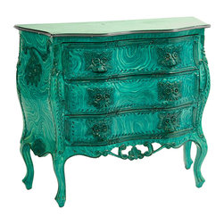 Bombay Chest, Faux Malachite Finish - This Bombay chest in a faux malachite finish is a pricey offering from antique site 1stdibs. It caught my eye as a perfect DIY project for an old dresser in need of a face-lift.