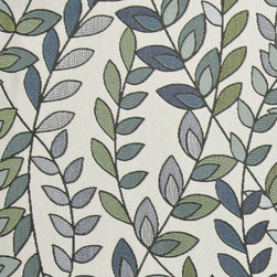 Blue, Green and Off White, Vines and Leaves Upholstery Fabric By The Yard - This contemporary upholstery jacquard fabric is great for all indoor uses. This material is uniquely designed and durable. If you want your furniture to be vibrant, this is the perfect fabric!