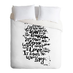 DENY Designs - Kal Barteski Even After All 1 Duvet Cover - Turn your basic, boring down comforter into the super stylish focal point of your bedroom. Our Luxe Duvet is made from a heavy-weight luxurious woven polyester with a 50% cotton/50% polyester cream bottom. It also includes a hidden zipper with interior corner ties to secure your comforter. it's comfy, fade-resistant, and custom printed for each and every customer.