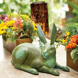 Ballard Designs - Bunny Williams Bunny - Deep verdigris finish. Handmade. Designer Bunny Williams loves gardening almost as much as she loves to entertain, so she's always looking for fun woodland accents. Based on a copper antique from her own garden, this cute bunny is made of cast aluminum. Bunny Williams Bunny features: . .