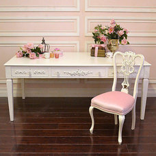Shabby Cottage Chic 3 Drawer White Office Desk French Rose Vintage Style WOW | e