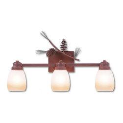 Avalanche-Ranch - Pine Cone Art: Parkshire Triple Bath Vanity Light - Bath Vanity Lights - Triple with Pine Cone artwork - Takes (3) 100W Medium bulb(s)