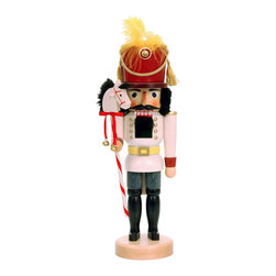 "Frontgate - Toy Soldier with Stick Horse Nutcracker - Exquisite detail in a 17"" tall figurine. Handcarved and hand-painted, with careful attention to even the tiniest features. Made from the finest wood and materials. The Toy Soldier with Stick Horse Nutcracker from Alexander Taron stands at attention but adds whimsy with his ""steed"" – a stick horse with candy cane striping. Enjoy the intricacies and master craftsmanship of Christian Ulbricht figurines, a holiday tradition since 1928. Bring the season alive in your home.. . . Made in Germany."