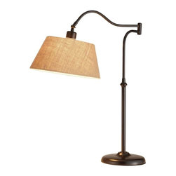 Adesso - Adesso Rodeo Table Lamp - The antique bronze finish of the Rodeo lamp have a swing arm adjustment with a curved pole from which the shade is suspended. The swing arm rotates 180 degrees horizontally, and the shades may be adjusted vertically and secured with a locking key. The flared shade is made of a hard-backed khaki burlap fabric. Has on/off rotary switch. 60 Watt incandescent or 13 Watt CFL bulb. 27 in Height, 23 in Maximum depth (13 in Length from joint to shade adjustment). Shade: 6 in Height, 12.75 in Bottom diameter, 8.5 in Top diameter.