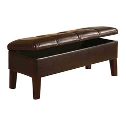 Adarn Inc - LEWIS Faux Leather Microfiber Button Tufted Upholstered Storage Bench, Brown - Add function and charm to your bedroom with this upholstered storage bench. The button tufted seat is upholstered in either a deep brown leather-like vinyl or soft tan microfiber fabric. Tapered wood legs add to sleek style, while the top opens and provides storage space for extra linens a pillows. Arrange with the coordinating upholstered headboard for a harmonious look.