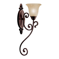 """KICHLER - KICHLER 5987CZ Wilton Traditional Wall Sconce - The Wilton Collection sets a new standard for quality and attention to detail. Intricate scrollwork and rich Carré Bronze finish accent the Antique Barley, tulip-shaped glasswork. This wall sconce will make an unforgettable impression. 1-light, 100-W. Max. (M) Width 6.5"""", Height 22.5"""", Extension 10"""". Fixture may be installed with glass up or down. Height from center of wall opening with glass up is 6.75"""". Backplate size: 13.5"""" x 5"""". U.L. listed for damp location."""
