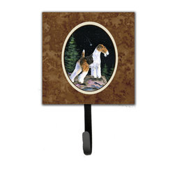 Caroline's Treasures - Starry Night Fox Terrier Leash Holder Or Key Hook - The Single Hook Leash Holder measures 4.25 inches wide by 7 inches high. The tile is made from a hardhoard and is mounted to a metal rectangle. The hook hangs down from the metal plate in the back and is about 2 1/2 inches from the base. The hook opens about 1 inch. A hanger is attached to the metal plate and is about 1 1/2 inches long. Lots of room to hang up using a screw or paneling nail. Great for the home or office to hold keys, leashes or just about anything.