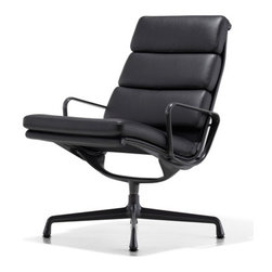 """Charles & Ray Eames - Eames Soft Pad Lounge Chair, Swivel Base - Herman Miller Eames Soft Pad Lounge Chair  Swivel Base, 3-Cushion Seat Back, Leather Upholstery  designed by Charles and Ray Eames      At A Glance:   2"""" thick foam pads, curved aluminum side ribs, a 4-star aluminum base and the genius of Charles and Ray Eames ... combine all of these elements together, throw in sumptuous leather and the result is the Eames Soft Pad Chair Collection. Shown here is the lounge chair from this classic collection. The leather upholstery color choices give you the option of a brighter, lighter look or a more subdued, traditional piece. While the lounge has uses in the office environment, Charles and Ray wanted to get away from the strictly corporate tone of the executive and management chairs and get into something more homey, more relaxing, and more comfortable.     Aalso available with fabric upholstery.     Eames Soft Pa"""