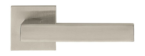 Door Lever Set Copenhagen, Satin Stainless Steel - This modern and stylish lever set will enhance your interior door and makes it a true conversational piece. It is from solid cast iron and available in different finishes. The set includes the handles on both sides, both rosettes and the mortise lock for passage or privacy. This lever set is made for custom doors that are not pre-hung or prepped for standard handles.