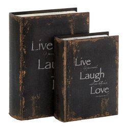 Benzara - Wood Book Box Designed In French Style - Set of 2 - Wood Book Box S/2 is an antique wood book box design in French style. The book box in wood is antique, so it carries a special charm on your table. It comes with Live, Laugh and Love message.