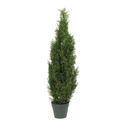Nearly Natural - 4' Cedar Tree Silk Tree - In-door/Out-door - Indoor or outdoor use. Captures the essence of the real tree. Boasting 1,000 tips to enhance any decor. Included container size: 8 in. W X 7 in. H20 in. W X 20 in. D X 4 ft. H (7.5lbs). The Cedar Pine is renowned for its gentle beauty that lasts the entire year. It's also a very versatile plant in terms of look - equally at home in a summer garden, a rustic den, or a snowy backyard. And our 4' tall Mini Cedar Pine Tree perfectly captures the essence of the real thing, without the care a live tree needs. Boasting 1,000 tips, this elegant tree will enhance any decor, and also makes an ideal gift.