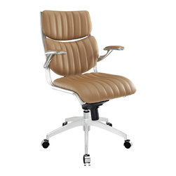 "LexMod - Escape Midback Office Chair in Tan - Escape Midback Office Chair in Tan - The high backed modern style of Jaunt creates a focused synergy that turns all eyes on you. Every task that comes your way, will be handled with confidence, from the leatherette cushioned comfort of office luxury. Padded armrests, and the sleek sheen of the five dual-caster base, complete Jaunt's stunning design. Set Includes: One - Escape Midback Office Chair Five dual-casters for easy gliding, Tension knob for tilt control, Recline at any angle, Pneumatic height adjustment, Chrome metal frame, padded armrests, 360 degree swivel, Waterfall seat, Leatherette padding Overall Product Dimensions: 25.5""L x 27""W x 40.5 - 43.5""H Seat Dimensions: 20""L x 22.5""W x 19.5 - 22.5""HBACKrest Dimensions: 19""L x 1.5 - 2""W x 20.5""H Armrest Dimensions: 1""W x 28.5 - 31""H Cushion Thickness: 13.5""Hbrase Dimensions: 13.5""L x 13.5""W - Mid Century Modern Furniture."