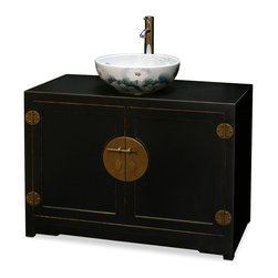 "China Furniture and Arts - Elmwood Ming Style Vanity Cabinet - With simple silhouette and clean lines, this Elmwood vanity cabinet is inspired by Chinese Ming style aesthetics. Distressed black finish and gold brass hardware on the cabinet are complemented by the contrasting porcelain sink vessel, which features elegantly hand-painted lotus pond scenery along the exterior and interior. Faucet in shiny chrome finish. One removable shelf behind the doors. Bowl is 16""Dia. x 6""H. Vessel bowl and faucet are not installed. Cabinet can be purchased without facet and vessel bowl. Please call 1-888-786-6888  for details."