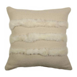 "Homelosophy - Rabbit Striped Pillow - 100% Merino and Llama wool pillow made by Homelosophy. It measures 20""x20"". Available in Ivory color. Three stripes of rabbit fur. Insert included. Hand made in Argentina."