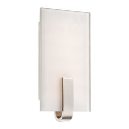 Minka George Kovacs - Minka George Kovacs LED Sconce with Polished Nickel Finish and Clear Flat Panel - This Thirty Light Wall Light has a Polished Nickel Finish and Clear Flat Panel / Inside White Glass. It is LED, and ADA Compliant.