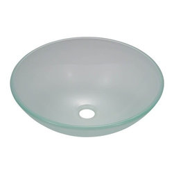 PolarisSinks - Polaris P206 Frosted Glass Vessel Sink - Our glass sinks come in a large variety of colors and styles to fit any decor. Our line of glass sinks will add elegant beauty to your bathroom. the glass sinks are manufactured using fully tempered glass. Tempered glass is stronger and can withstand higher temperatures than normal glass. the quality of the glass makes maintenance very easy. the glass is non porous and will not absorb odor or stains making it a very sanitary option in bathroom sinks. Our glass sinks are covered by a Limited lifetime warranty. Each sink comes with a cardboard cutout template and mounting hardware.
