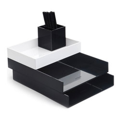 Poppin - Desktop, Black - Bundle includes: Black Letter Trays; White Accessory Tray; Black Pen Cup; 1 box Black Signature Ballpoints