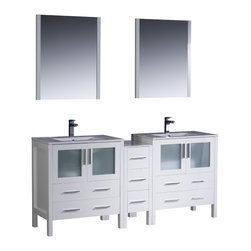 "Fresca - Fresca Torino 72"" White Double Sink Vanity w/ Side Cabinet & Sinks - Dimensions of vanity:  72""W x 18.13""D x 33.75""H. Dimensions of mirror:  25.5""W x 31.5""H x 1.25""D. Materials:  Plywood w/ veneer, ceramic sinks w/ overflow. Single hole faucet mounts. P-traps, faucets, pop-up drains and installation hardware included.  Fresca is pleased to usher in a new age of customization with the introduction of its Torino line.  The frosted glass panels of the doors balance out the sleek and modern lines of Torino, making it fit perfectly in either town or country decor.  Available in the rich finishes of Espresso, Glossy White, Light Oak and Walnut Brown."