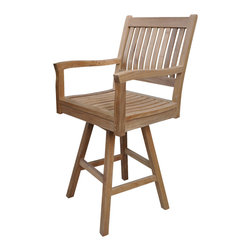 Anderson Teak - Rialto Swivel Bar Armchair - Constructed from environmentally friendly teak the Rialto Swivel Bar Armchair is a bold and stylish piece sure to inspire conversation. The chair has arms and a supportive back for your comfort. Made of plantation teak. Rich colors and tight wood grains make each piece unique. Can be used indoors and outdoors. Cushion is optional and is being made by order.