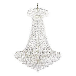 "The Gallery - French Empire Crystal Chandelier Chandeliers Lighting H30"" X W24"" - 100% CRYSTAL CHANDELIER, this silver Empire chandelier is characteristic of the grand chandeliers which decorated the finest Chateaux and Palaces across Europe and reflects a time of class and elegance which is sure to lend a special atmosphere in every home.Assembly Required Size: H30"" W24"" Lights: 9 Lights Finish: Silver Finish"