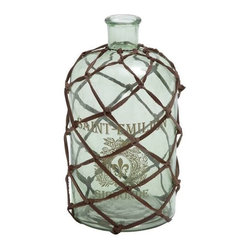 Benzara - Contemporarily Netted Decorative Glass Bottle Vase - Contemporarily Netted Decorative Glass Bottle Vase. Etched with writing in French, this decorative glass bottle vase is the perfect alternative to a flower pot. The dimensions of the decorative and netted glass bottle vase are 6x6x10.