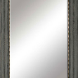 Paragon Decor - Distressed - Aged barnwood finish is juxtaposed with gold beaded lip (mirror size 60h x 29w).