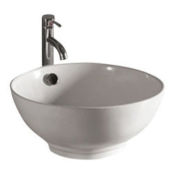 Whitehaus Collection - Whitehaus WHKN1051 White Ceramic Round Above Mount Bathroom Sink Basin - Whitehaus Collection bathroom sinks are modern sleek and stylish. A great option for anyone that wants a unique and eye catching bathroom design!