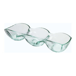 Luigi Bormioli - Luigi Bormioli Recycled 3-Section Glass Condiment Dish - It's easy being green with this three-section condiment dish. Made from recycled glass, it adds environmentally conscious elegance with a splash of color for entertaining. From Luigi Bormioli.