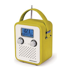 Crosley - Songbird Portable Radio, Green - Tote around your tunes with the stylish Crosley Songbird Radio. Just pop in some batteries and carry your AM/FM radio anywhere you need to go. Features a PAR cable and an AC power adapter so you can plug-in as soon as you get to work or home. Turn the digital tuner to your favorite radio station or plug in your portable audio device and listen to music or talk shows on the radio's dynamic full-range speaker. No need to be fashionably late anymore. Wake up in style with the radio's alarm clock function. The Crosley Songbird Radio is available in different colors to suit your style scheme. Requires 2 cell batteries.