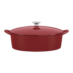 Mario Batali by Dansk - Mario Batali by Dansk Classic 6 qt. Oval Dutch Oven - Chianti Multicolor - 82680 - Shop for Dutch Ovens from Hayneedle.com! The Mario Batali by Dansk Classic 6 Sq. Oval Dutch Oven in Chianti gives you a bit more room to cook. This cast iron must-have wraps the hard-working properties of old school cast iron in a spicy chianti red enamel and makes it modern. Don't baby it -- this one doesn't need to be seasoned and can even stand up to the dishwasher! It's also perfectly safe on your gas electric induction or ceramic-top stove and comes with a lifetime warranty. What's not to love?