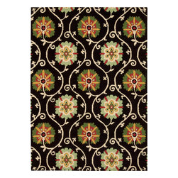 """Nourison - Nourison Suzani SUZ03 (Black) 8' x 10'6"""" Rug - Add a breath of fresh air to any interior with these colorful and magnificently textured rugs. Hand tufted from 100% wool, this collection features a cut and loop pile and bright floral-themed patterns. Let your room bloom throughout the year and inspire conversation when you add a Suzani rug."""