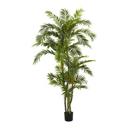 """Nearly Natural - 6' Curvy Parlor Palm Silk Tree - Here's an offering that's both refined and eclectic at the same time. This """"fluffy"""" Parlor Palm silk tree has multiple trunks with leafy fronds that billow here there and everywhere. Standing a full six feet in height, this tree makes an ideal accent piece to any home or office in need of some """"ocean breeze"""". Plus, it never needs sun or water!"""