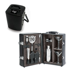 """Picnic Time - St. Louis Rams Manhattan Portable Cocktail Case in Black - The Manhattan from Picnic Time's Legacy Collection is a portable cocktail case that has everything needed for your cocktail party on the go. Fully-insulated and made of premium leatherette, the Manhattan has a beautiful velveteen interior lining that helps to showcase all its amenities, including: 2 martini glasses (hand-blown glass, 7 oz.), 1 stainless steel (S/S) shaker (19 oz.), 1 S/S double-sided jigger (1oz./2 oz.), 1 S/S ice tongs, 1 S/S strainer, 2 S/S olive picks, 1 (Vermouth) mister (1 oz.), 1 combination fork/spoon stirrer, and 2 napkins (100% cotton, 14 x 14""""). The Manhattan features a divided, insulated compartment to carry two bottles, an adjustable leatherette shoulder strap and a suitcase-style handle for easy carrying. Why wait for the party, when you can bring the party with you?; Decoration: Engraved; Includes: 2 martini glasses (hand-blown glass, 7 oz.), 1 stainless steel (S/S) shaker (19 oz.), 1 S/S double-sided jigger (1oz./2 oz.), 1 S/S ice tongs, 1 S/S strainer, 2 S/S olive picks, 1 (Vermouth) mister (1 oz.), 1 combination fork/spoon stirrer, and 2 napkins (100% cotton, 14 x 14"""", Black and Silver pinstripe -OR- Blue and Gray Legacy Stripe)"""