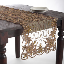 None - Hand Beaded Design Table Topper or Table Runner - The choice of a hand beaded design table runner or hand beaded topper makes for a unique and elegant table. Both options feature an elegant gold coloring.