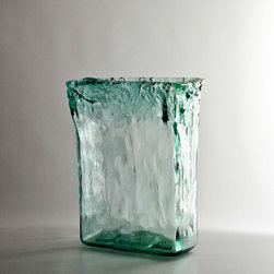 Recycled Tall Rectangle Glass Vase - This handblown glass vase includes a hint of green along the edges. It's perfect for a spring table.