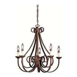 BUILDER - BUILDER Dover Transitional Chandelier X-ZT1202 - Providing a traditional touch with its classic design and warm finish, this stunning chandelier displays an expressive metal frame for a stunning look. The Kichler Lighting Dover Transitional chandelier features a hand-wrought steel frame designed with ribbon curls and graceful curves. This rustic chandelier comes in a tannery bronze finish with five faux candle lights.