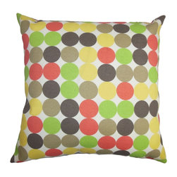 "The Pillow Collection - Sacnite Geometric Outdoor Pillow 18"" x 18"" - This accent pillow with a bright color palette is a lovely addition to your pillow collection. The multicolored dot pattern lends a contemporary twist to your patio, cabana or garden. This decor pillow presents a fun and happy vibe which make it an ideal statement piece. Made of mildew-resistant and UV-protected fabric, this 18"" pillow is long lasting. Hidden zipper closure for easy cover removal.  Knife edge finish on all four sides.  Reversible pillow with the same fabric on the back side.  Spot cleaning suggested."