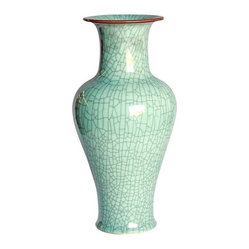 Belle & June - Crackle Celadon Fish Tale Vase with Brown Lip - Picture an array of brightly colored flowers exploding from this vase in the middle of your dining room table. Or, fill it with blossoms and move it to your mantle for an extra pop of color in your living room.