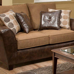 Chelsea Home - Union Upholstered Loveseat - Includes four chocolate toss pillows. Modern style. Medium seating comfort. Chocolate, Tokyo oak cover. 100% poly fabric. Solid kiln dried hardwood frame. Stress points are reinforced with blocks to secure a long lasting frame. Sinuous springing system is made from reinforced 16 gauge border wire to maintain a uniform seating. Double springs are used on the ends nearest the arms to give balance in the seating. Cushions made from hi-density foam cores with Dacron polyester wrap to provide longer life. Made in USA. No assembly required. 69 in. L x 39 in. W x 40 in. H (100 lbs.)