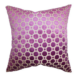 """The Pillow Collection - Kostya Geometric Pillow Purple 20"""" x 20"""" - Enhance the look of your living space with this plush and elegant throw pillow. It comes with a lovely magenta hue with a geometric pattern in white. This square pillow is a classic addition to any of your room. Made with a soft velvet material, this 20"""" pillow ensures long lasting quality. Hidden zipper closure for easy cover removal.  Knife edge finish on all four sides.  Reversible pillow with the same fabric on the back side.  Spot cleaning suggested."""