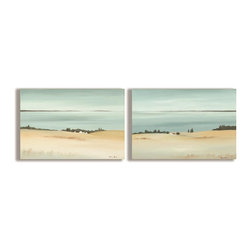 Stupell Industries - Beautiful Sandy Beach Horizon 2 Piece Duo 15 x 30 (Regular) - Choose Size: Regular. Made in USA. Ready for Hanging. Hand Finished and Original Artwork. No Assembly Required. Regular: 30 in L x 0.5 in W x 10 in H (4 lbs.). Oversized: 32 in L x 0.5 in W x 20 in H (8 lbs.)Point your guests in the right direction with elegant bathroom plaque. These decorative wall plaques are crafted of sturdy fiberboard with hand-finished coved borders, each plaque comes with a sawtooth hanger for easy installation on bathroom doors or walls.