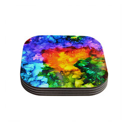 """Kess InHouse - Claire Day """"Karma"""" Rainbow Paint Coasters (Set of 4) - Now you can drink in style with this KESS InHouse coaster set. This set of 4 coasters are made from a durable compressed wood material to endure daily use with a printed gloss seal that protects the artwork so you don't have to worry about your drink sweating and ruining the art. Give your guests something to ooo and ahhh over every time they pick up their drink. Perfect for gifts, weddings, showers, birthdays and just around the house, these KESS InHouse coasters will be the talk of any and all cocktail parties you throw."""