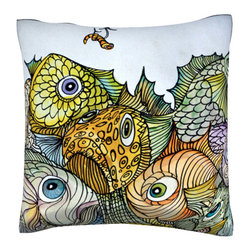 Custom Photo Factory - Illustration of Fish and Worm on Hook Pillow.  Polyester Velour Throw Pillow - Illustration of Fish and Worm on Hook Pillow. 18 Inches x 18  Inches.  Made in Los Angeles, CA, Set includes: One (1) pillow. Pattern: Full color dye sublimation art print. Cover closure: Concealed zipper. Cover materials: 100-percent polyester velour. Fill materials: Non-allergenic 100-percent polyester. Pillow shape: Square. Dimensions: 18.45 inches wide x 18.45 inches long. Care instructions: Machine washable