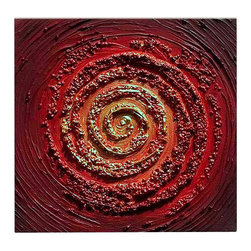 Matthew's Art Gallery - Oil Painting Abstract Modern Heavy Texture Red Swirl - The Painting:  Red Swirl