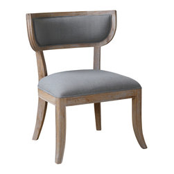 "Uttermost - Uttermost Alva Armless Chair - Alva Armless Chair by Uttermost Simple And Modern, Danish Oak Finish On Solid Oak Frame With Welted Linen Covering In Pewter. Seat Height Is 21""."