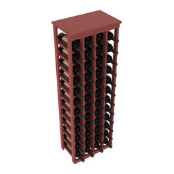 """Wine Racks America - 48 Bottle Kitchen Wine Rack in Ponderosa Pine, Cherry Stain + Satin Finish - Store 4 complete cases of wine in less than 20"""" of wall space. Just over 4 feet tall, this narrow wine rack fits perfectly in hallways, closets and other """"catch-all"""" spaces in your home or den. The solid wood top serves as a shelf or table top for added convenience and storage of nick-nacks."""