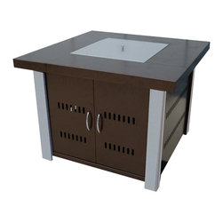 AZ Patio Heaters - LP Square Fire Pit with Stainless Steel Legs - Antique Bronze - Hammered Bronze Square Fire Pit with Stainless Steel Legs and Lid.