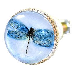 Charleston Knob Company - SET OF 2 Knobs - Whitewashed Retro Metal & Glass Dragonfly - Original artful design make these