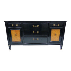 Century Furniture - Consigned Ebonized & Burlwood Credenza - A newly enameled high-gloss mid-century black credenza with burlwood inlay doors and brass hardware by Century Furnishings. An enamel finish offers a high gloss lacquer-like finish with improved versatility.